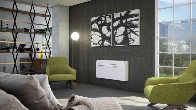 condizionatore appeso a parete nel soggiorno