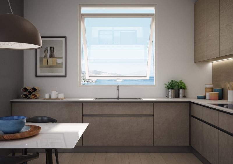 finestra basculante PVC in cucina