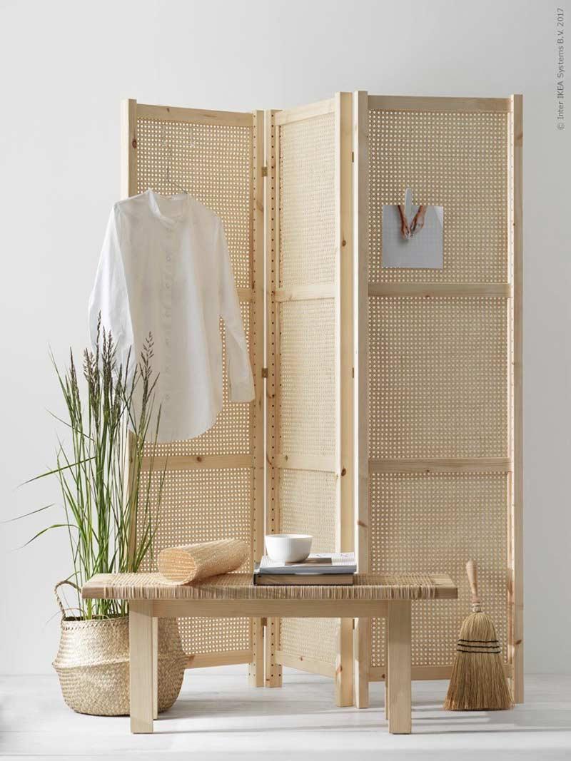 Ikea Scaffali Legno Ivar paravento fai da te in rattan con montanti ivar di ikea