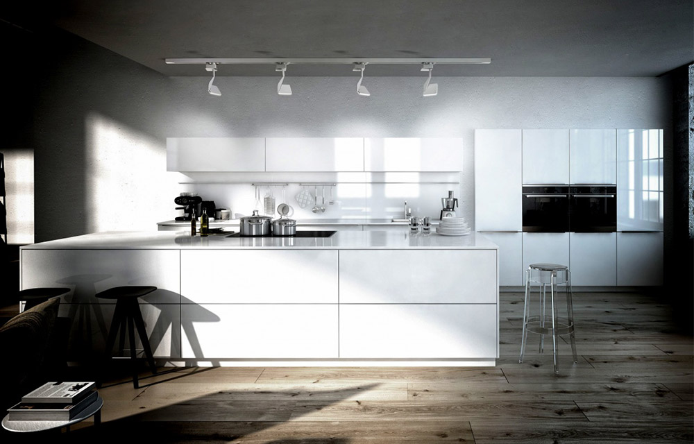 illuminazione a binario cucina moderna