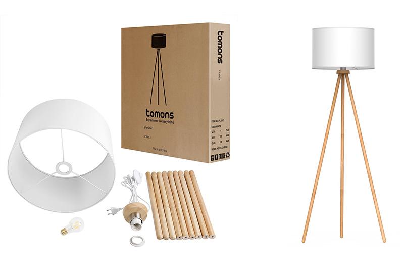 lampada da terra in legno con paralume in tessuto