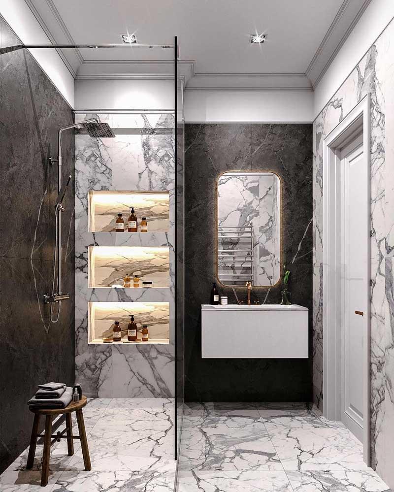 nicchie nella doccia illuminate