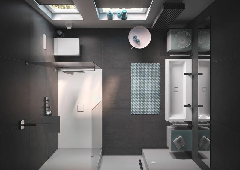 bagno piccolo con doccia filo pavimento