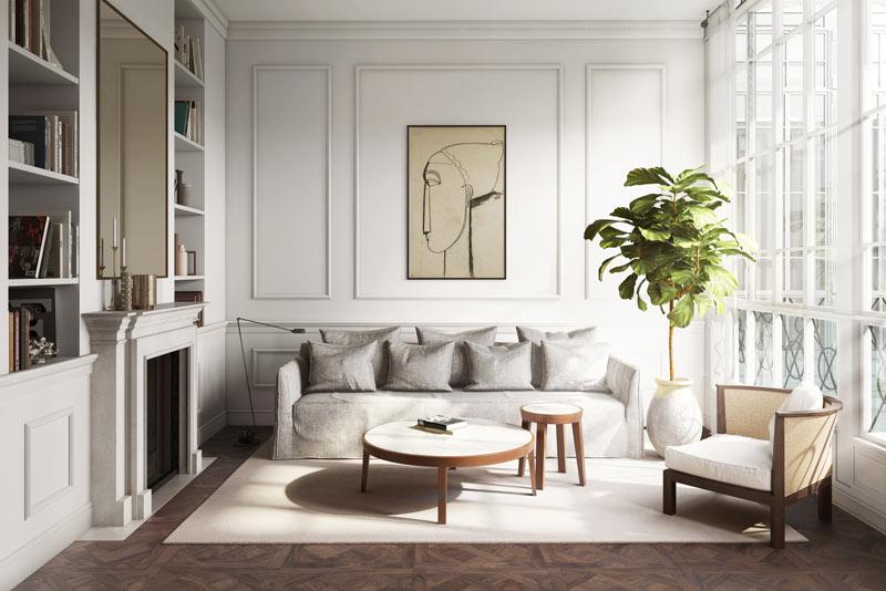 soggiorno in stile classico contemporaneo
