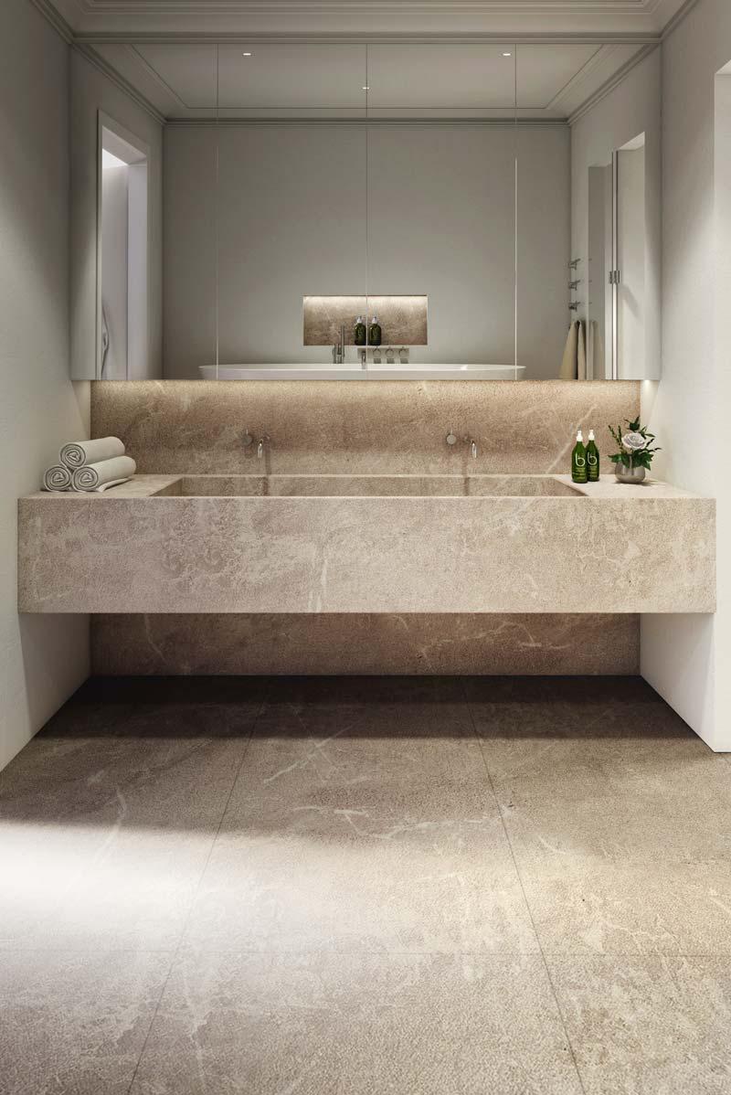 bagno con grande lavabo in pietra