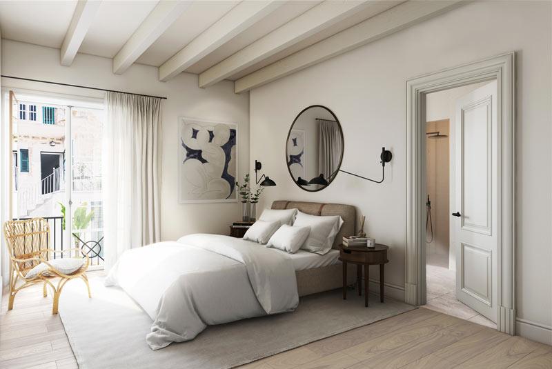 camera da letto dai toni naturali