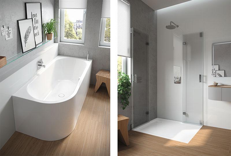 vasca e doccia filo pavimento in un bagno piccolo