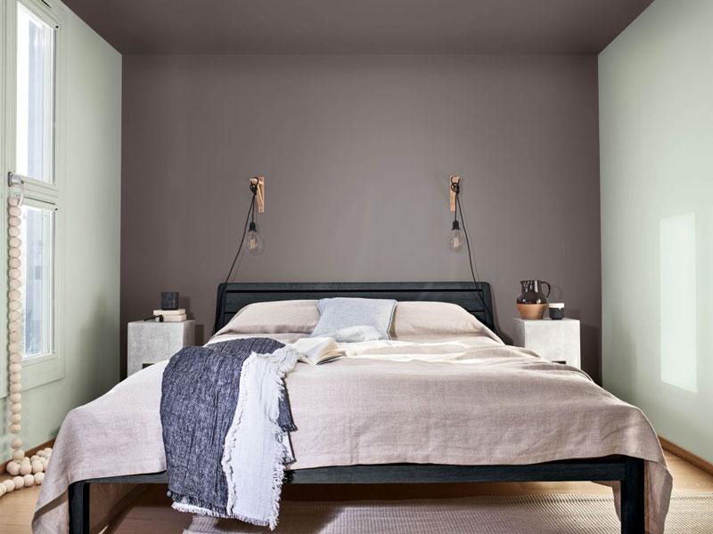 pareti camera nel colore tranquil dawn e grigio