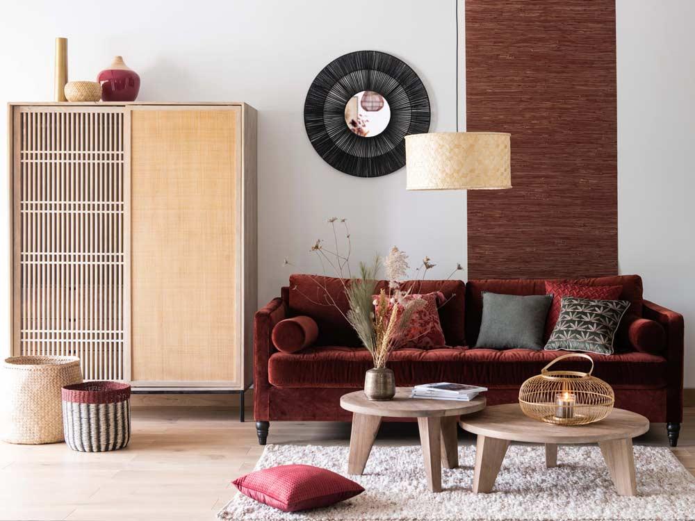 soggiorno stile nordico con influenze giapponesi