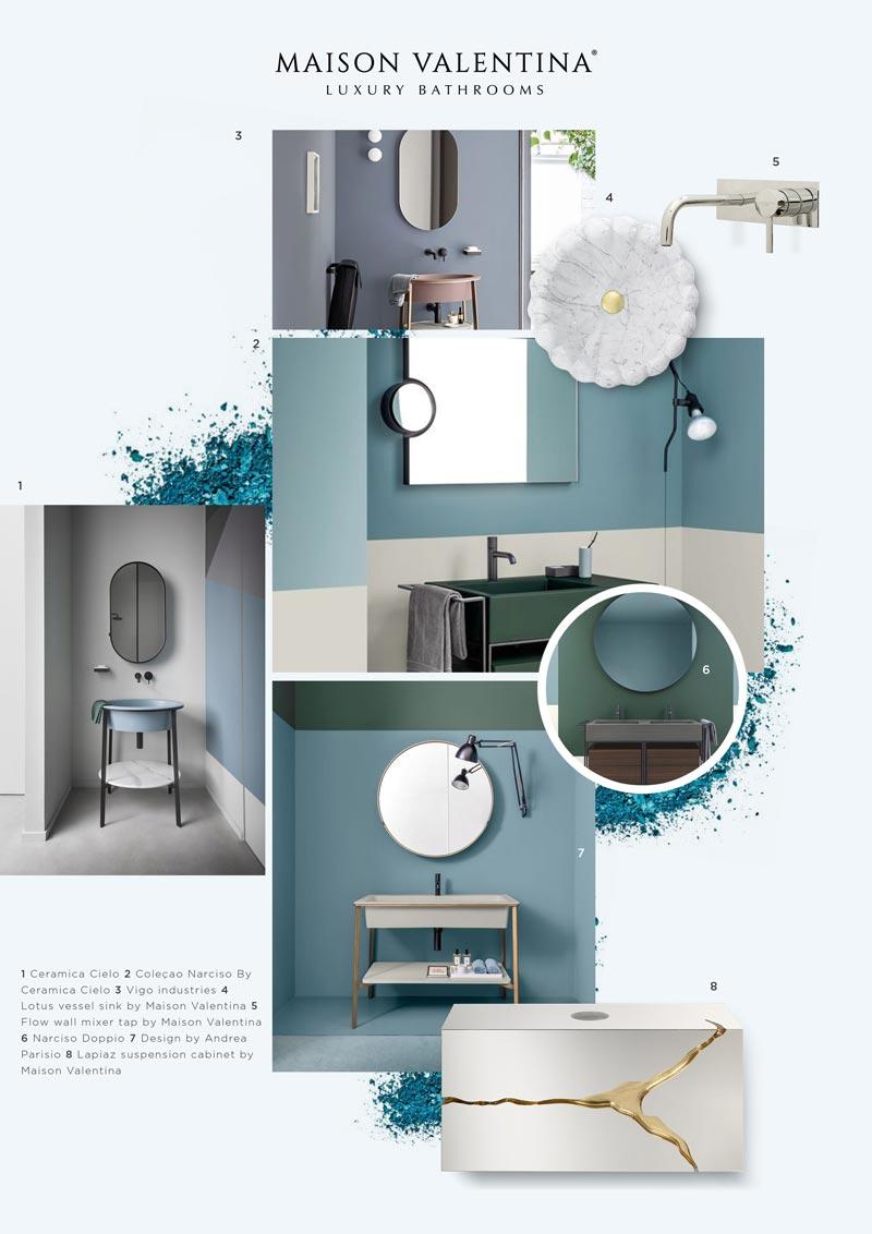 moodboard blu per il bagno