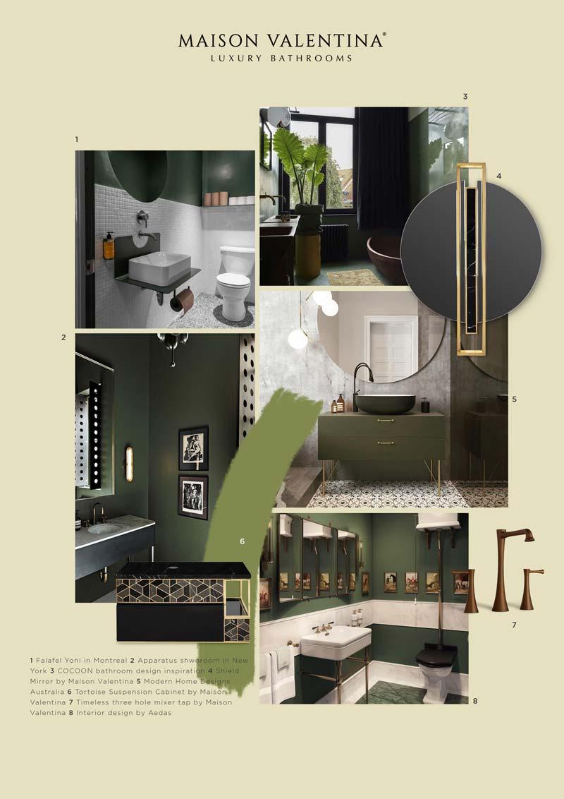moodboard green per il bagno