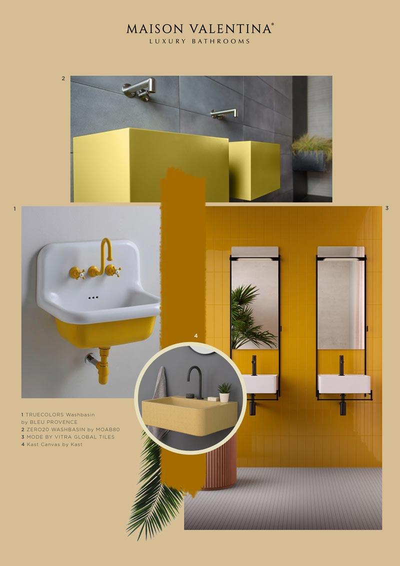 moodboard giallo per il bagno