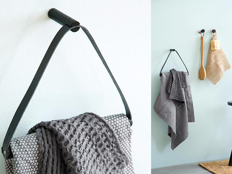 porta asciugamani da parete in pelle e legno