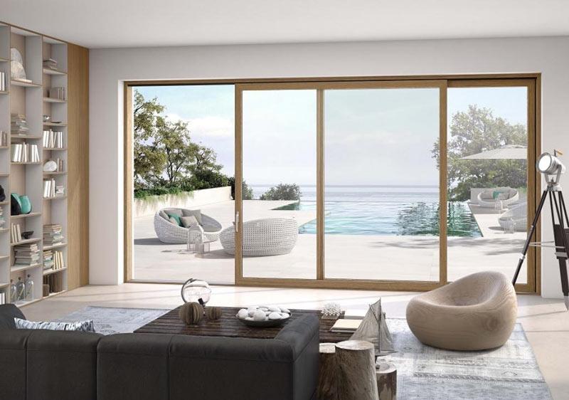 soggiorno con vetrata scorrevole