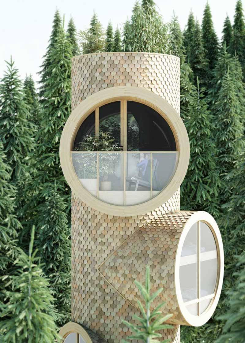casa prefabbricata a forma di albero