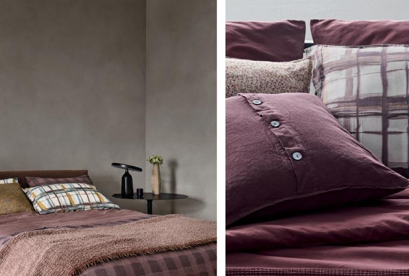 tessile letto color porpora