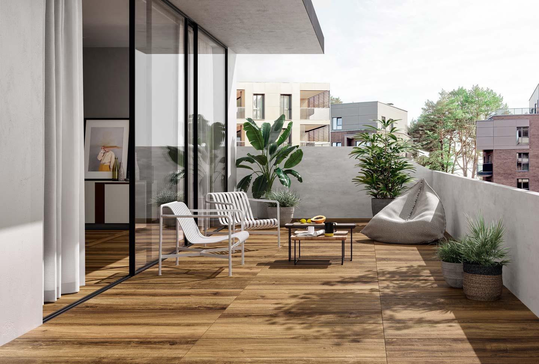 terrazzo con pavimento gres effetto legno