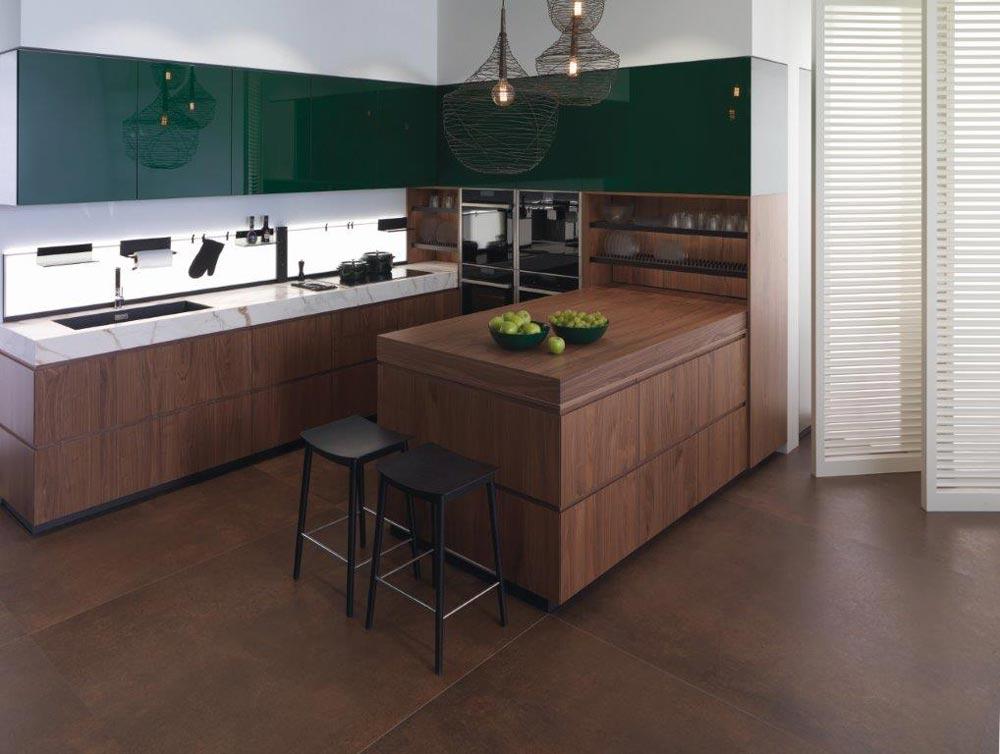 cucina verde e legno