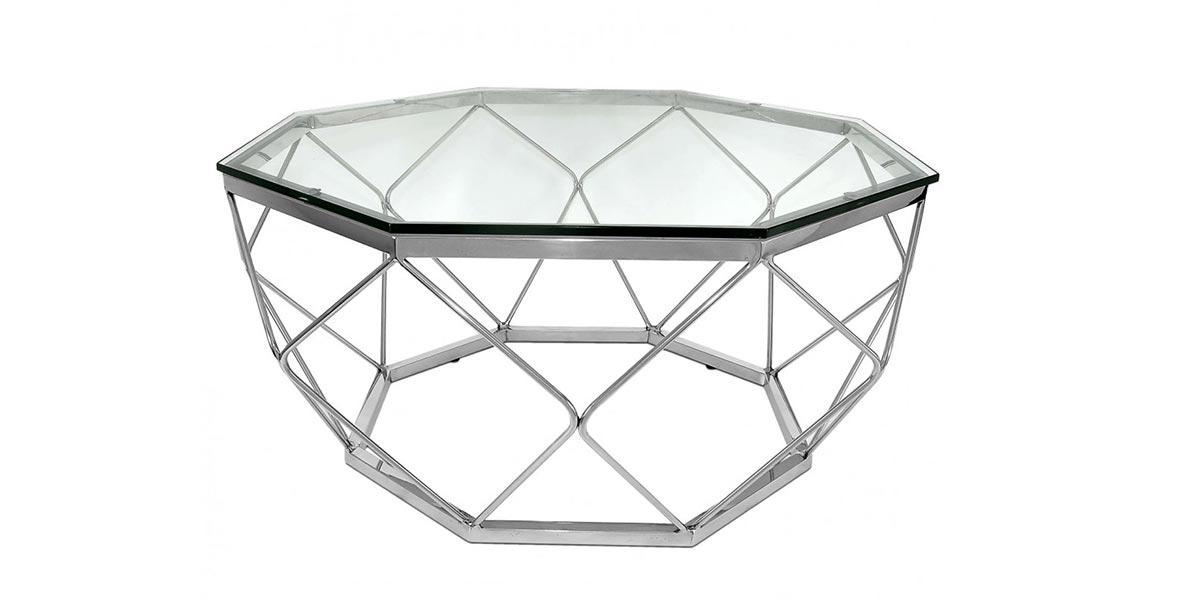 tavolino moderno acciaio e vetro temperato
