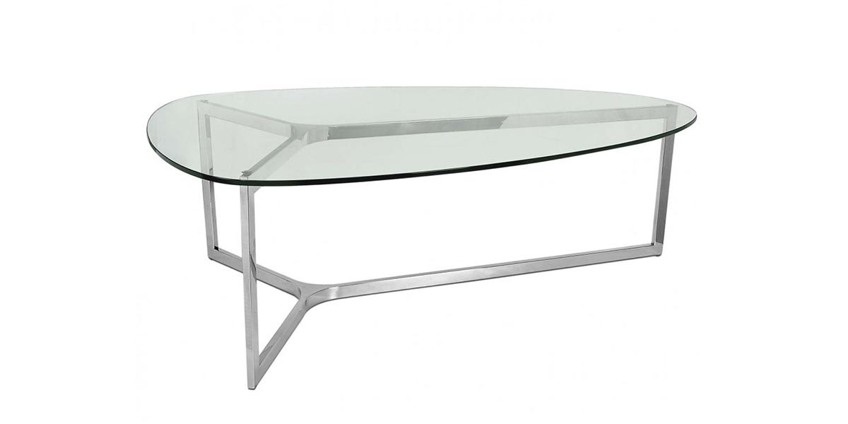 tavolino in acciaio e vetro