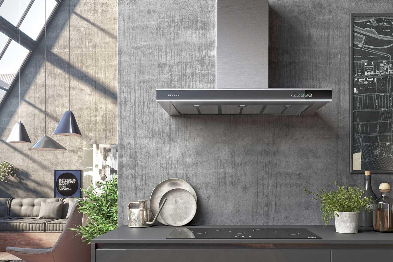 cappa da cucina a parete in acciaio