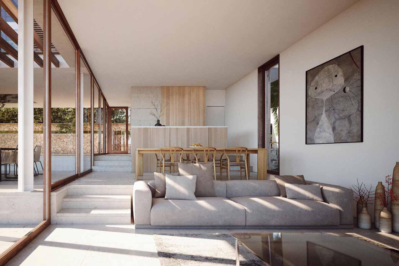 zona giorno open space con ampie vetrate
