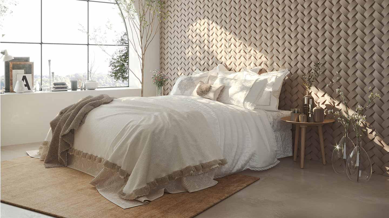 camera da letto in bianco e neige