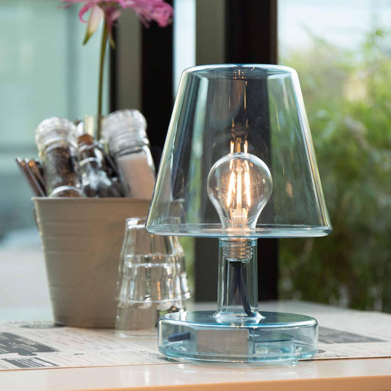 lampada da tavolo in vetro trasparente moderna