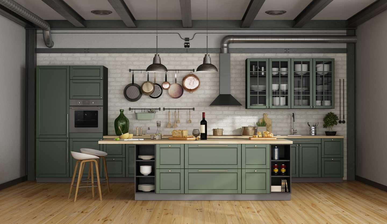 cucina verde salvia
