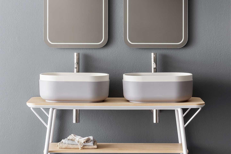 lavabi doppio colore sistema Oblon di Novello