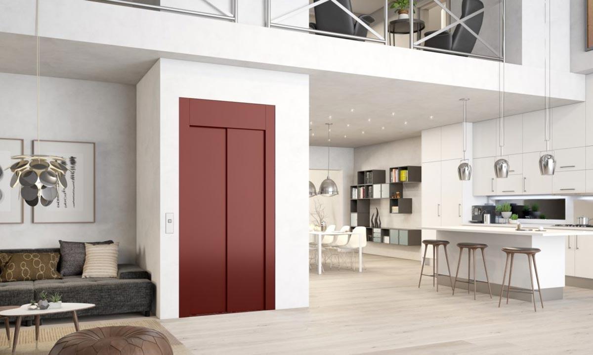 ascensore rosso interno casa