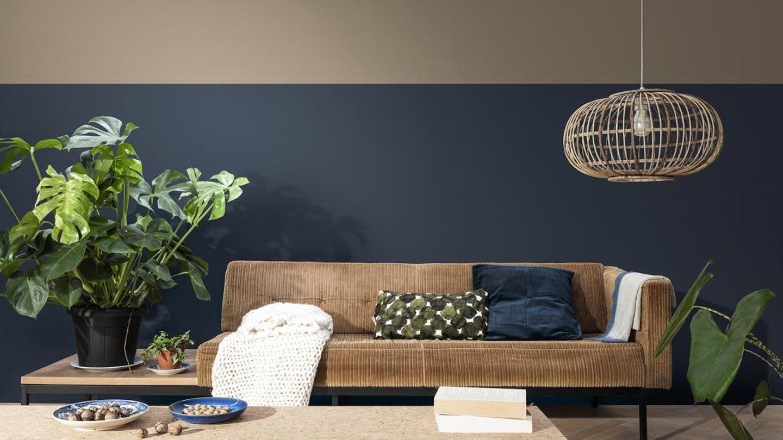 parete bicolore in soggiorno