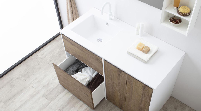 mobile bagno con cassetti e coprilavatrice