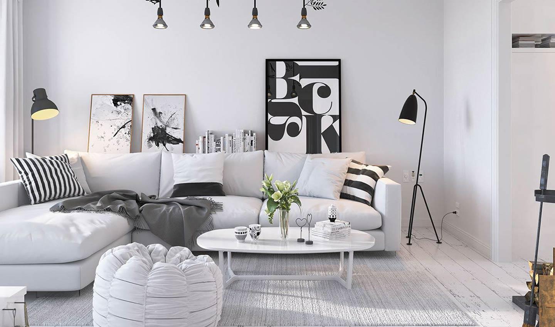 soggiorno stile nordico bianco e nero