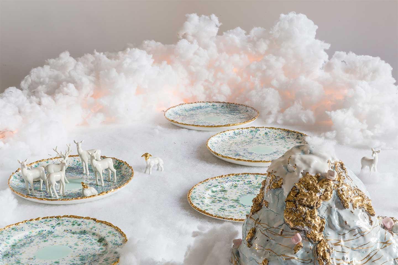 piatti Blue Marble tavola Natale