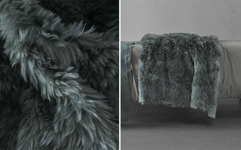 plaid in lana effetto pelliccia