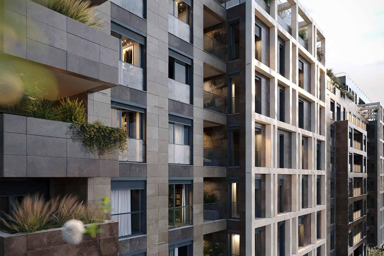 facciata complesso residenziale a Milano