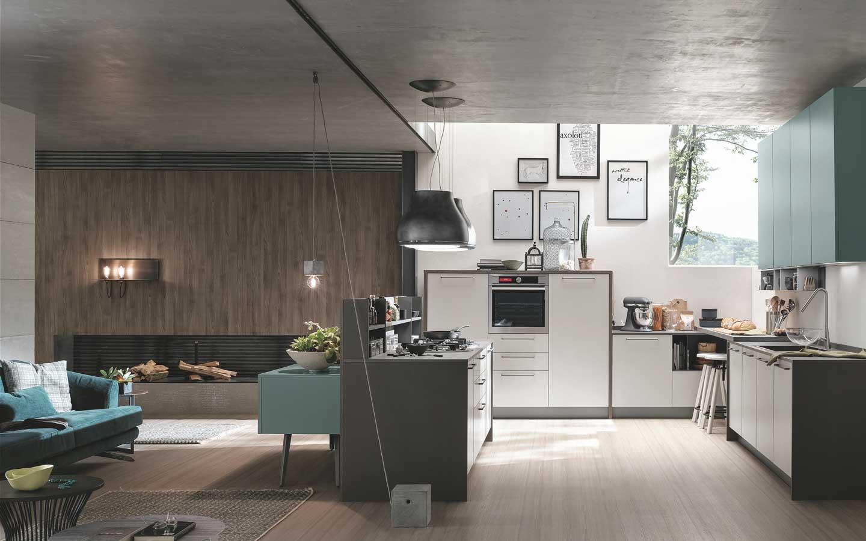 cucina a isola e soggiorno