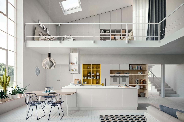 cucina con isola in un loft