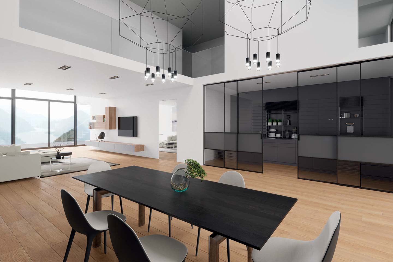parete scorrevole tra cucina e living