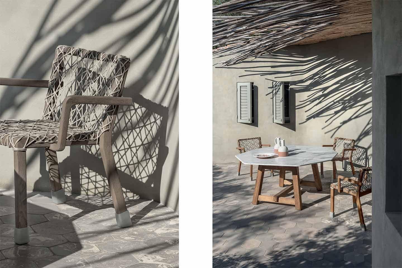 sedia e tavolo da giardino