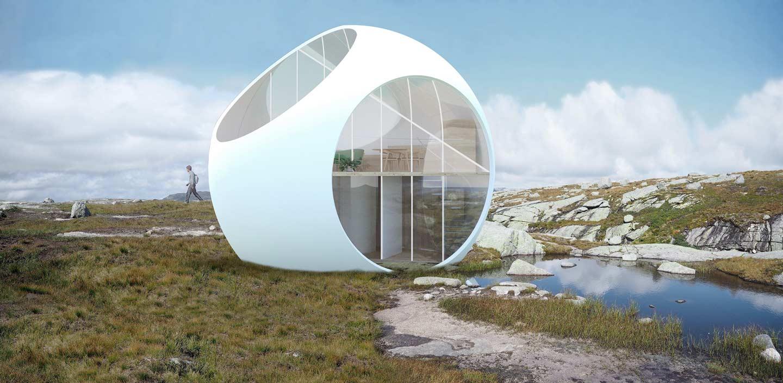 casa prefabbricata a forma di sfera