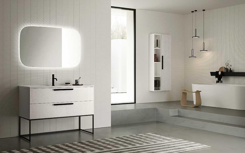 bagno minimalista bianco e nero
