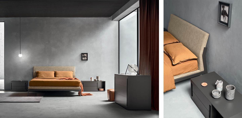 letto di design in legno e tessuto