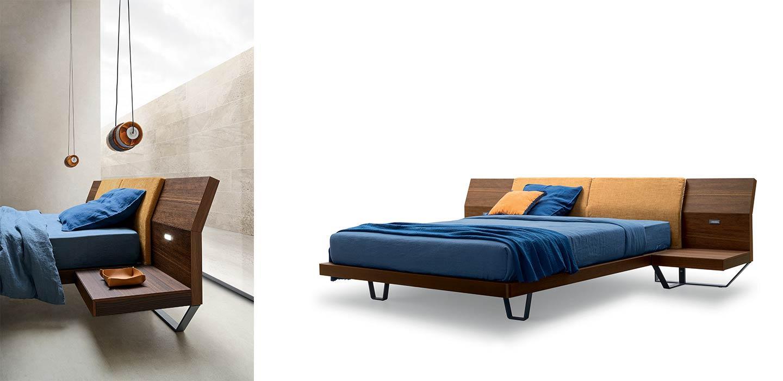 letto in legno con comodini integrati
