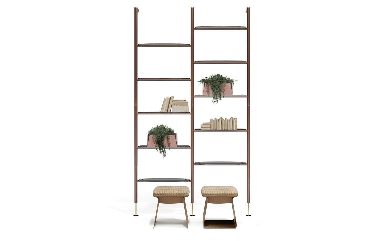 libreria componibile con piani in vetro
