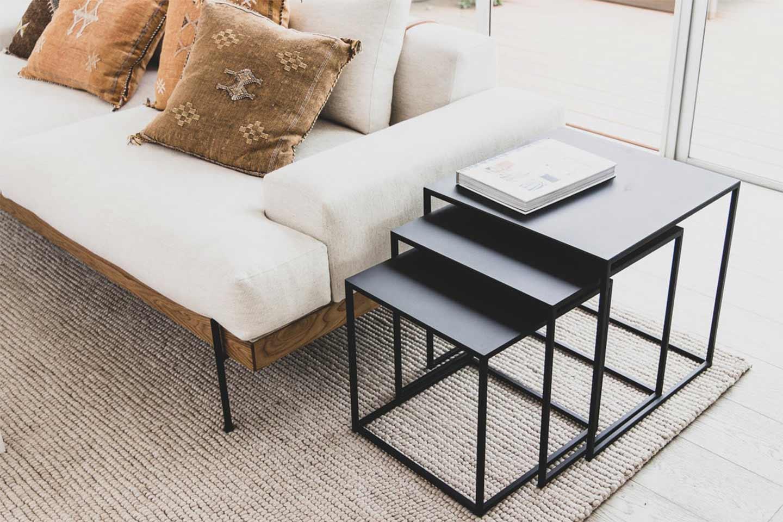 tris tavolini salotto ferro nero
