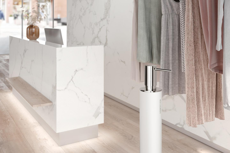 dispenser igienizzante mani bianco