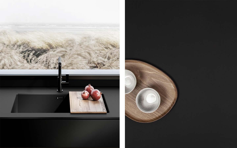 lavello e piano cucina nero