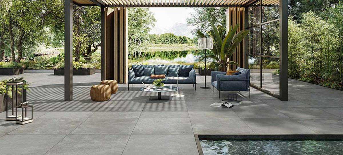 pavimento esterno gres grigio effetto pietra